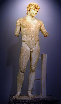 Statue of Antinous (Delphi), polychrome Parian marble depicting Antinous, made during the reign of Hadrian (r. 117–138 AD), his lover