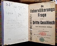 """Vita homosexualis, a 1902 collection of August Fleischmann's popular pamphlets on the third sex and against §175 - a copy from the library of the Wissenschaftlich-humanitäres Komitee, confiscated on 6 May 1933, annotated on the endpaper: """"Destined for destruction in accordance with the Reichspresident's decree of 28 February 1933!"""" and hidden from the public (label """"Secr."""") as Nazi plunder at the Prussian State Library."""