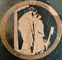Male couple (erastes and eromenos) kissing (Attic red-figured cup, ca. 480 BC)