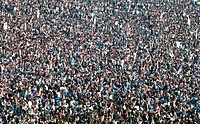 A crowd of 120,000 fans at Knebworth House in 1976