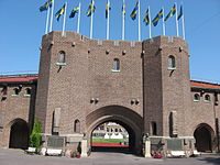 The front gate of the Stockholm Olympic Stadium, which was built for the 1912 Games