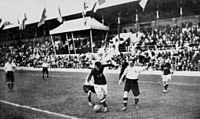 Great Britain plays Denmark in the final of the football tournament
