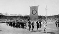The Swedish team parading in the stadium during the opening ceremony