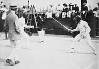 Jean de Mas Latrie and George S. Patton competing in the fencing event of the Modern pentathlon