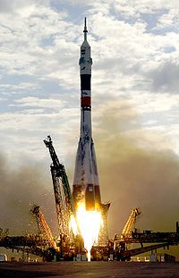 Soyuz TMA-2 is launched from Baikonur, Kazakhstan, carrying one of the first resident crews to the International Space Station