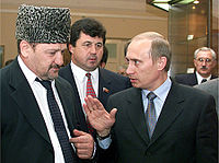 Russian President Vladimir Putin and Akhmad Kadyrov, former rebel and head of the Chechen Republic, 2000
