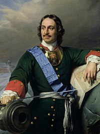Peter the Great, Tsar of All Russia in 1682–1721 and the first Emperor of All Russia in 1721–1725. Portrait by Paul Delaroche in the Kunsthalle Hamburg.