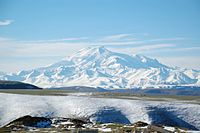 Mount Elbrus, a dormant volcano in Southern Russia, is the highest mountain in Russia and Europe.