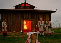 Rodnover fire ritual at the Temple of Svarozhich's Fire of the Union of Slavic Native Belief Communities, in Krasotinka, Kaluga Oblast.