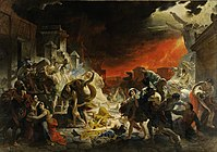 The Last Day of Pompeii (1833, Russian Museum) by Karl Bryullov, a key figure in transition from the Russian neoclassicism to romanticism