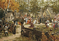Sergius of Radonezh blessing Dmitry Donskoy in Trinity Sergius Lavra, before the Battle of Kulikovo, depicted in a painting by Ernst Lissner