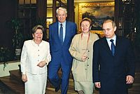 Boris Yeltsin and Vladimir Putin with their respective spouses, in 2002