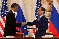 Russian President Dmitry Medvedev and U.S. President Barack Obama after signing the New START treaty
