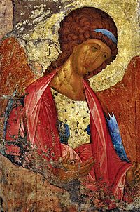 Archangel Michael fresco (1408) by Andrei Rublev, which represents the typical Russo-Byzantine style of art.