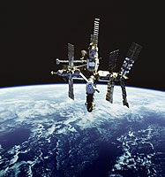 Mir, Soviet and Russian space station that operated in low Earth orbit from 1986 to 2001.
