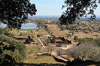 Near the sanctuary on the main upper level of Vat Phou, looking back towards the Mekong River