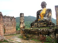 Ruins of Muang Khoun, former capital of Xiangkhouang province, destroyed by the American bombing of Laos in the late 1960s