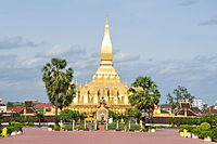 Pha That Luang in Vientiane. The Buddhist stupa that is a national symbol of Laos.