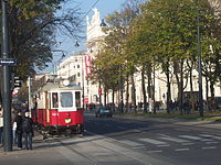 The Ring Road (Ringstraße) with a historical tram