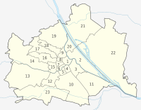 Map of the districts of Vienna with numbers