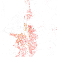 Map of racial distribution in Salt Lake City, 2010 U.S. Census. Each dot is 25 people: White, Black, Asian , Hispanic or Other (yellow)