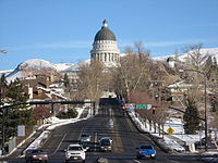 The beginning of State Street at the foot of the Utah State Capitol