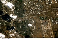 Astronaut photography of Salt Lake International Airport in west SLC, taken from the International Space Station (ISS). North is at bottom.