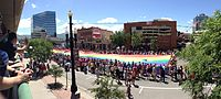 The rainbow flag at the conclusion of the 2014 Utah Pride parade.