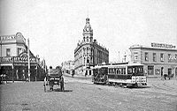 An 1880s photograph of St Kilda Junction looking south towards the Junction Hotel, on the corner of Barkly Street and High Street (now widened as St Kilda Road) which was lined with shops and was the commercial street of the area.