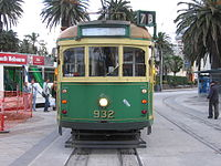 Trams at the Acland Street junction in 2005