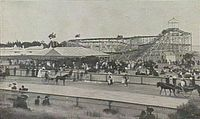 Robson's Figure Eight in 1908 on Lower Esplanade was part of Dreamland, the current site of Luna Park and the Palais Theatre but just one of many carnival attractions along the foreshore at the turn of the century.