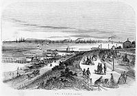 Early lithograph (1864) of St Kilda main beach, looking toward west beach and Port Melbourne