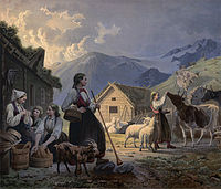 An idealized depiction of girl cow herders in 19th-century Norway by Knud Bergslien
