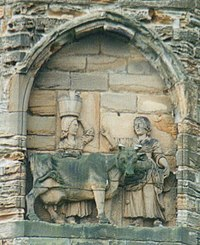 Legend of the founding of Durham Cathedral is that monks carrying the body of Saint Cuthbert were led to the location by a milk maid who had lost her dun cow, which was found resting on the spot.