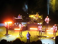 """The touring lineup of Mike Love and Bruce Johnston's """"The Beach Boys Band"""", with David Marks, in 2008"""