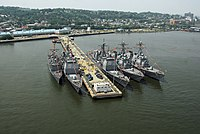 US Navy ships tied up at the home port pier during Fleet Week in 2007