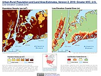 Population density and elevation above sea level in Greater NYC, U.S. (2010). Staten Island is especially vulnerable to sea level rise.