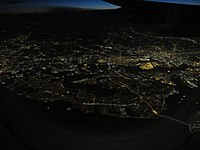Aerial view of Staten Island from the east at night