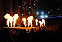 A display of pyrotechnics during one of Kid Rock's performances. His stage presence helped increase his local following in Detroit in the mid-1990s.