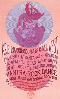 The Mantra-Rock Dance promotional poster featuring Allen Ginsberg along with leading rock bands.