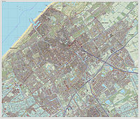 Detailed topographic map of The Hague, 2014