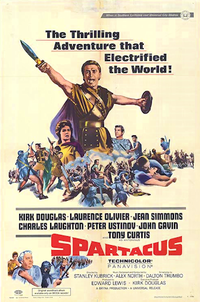 Poster for Stanley Kubrick's Spartacus, one of two films in which Olivier appeared in 1960