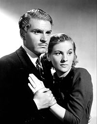 Olivier with Joan Fontaine in the 1940 film Rebecca