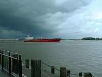 A tanker on the Mississippi River in New Orleans