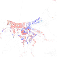 Map of racial distribution in New Orleans, 2010 U.S. Census. Each dot is 25 people: White, Black, Asian , Hispanic , or Other (yellow)