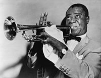 Louis Armstrong, famous New Orleans jazz musician