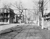 Esplanade Avenue at Burgundy Street, looking lakewards north towards Lake Ponchartrain (1900)