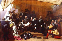 The Embarkation of the Pilgrims from Delfthaven in Holland (1844) by Robert Walter Weir