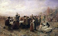 Jennie Augusta Brownscombe, The First Thanksgiving at Plymouth (1914), Pilgrim Hall Museum, Plymouth, Massachusetts