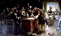 """""""Signing of the Mayflower Compact"""" (c.1900) by Edward Percy Moran"""